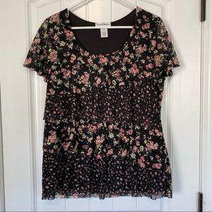 NorthStyle Black Floral Short Sleeve Top Large